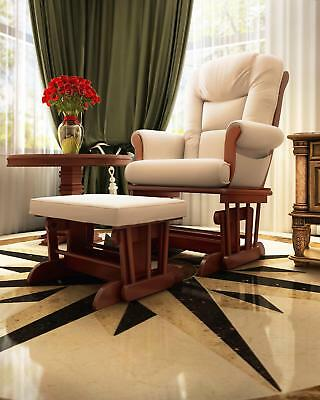 Naomi Home Deluxe Multiposition Sleigh Glider and Ottoman Set Cherry Cream
