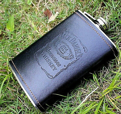 9 Oz Stainless Steel Hip Flask Leather Wine Bottle  Pocket Flagon Box Gift retro