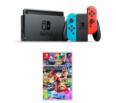 NINTENDO Switch Neon Red & Mario Kart 8 Deluxe Bundle