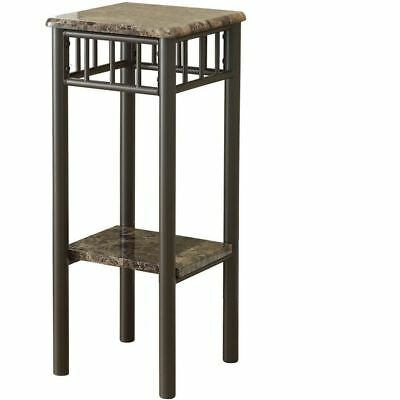 Accent Table Cappuccino Marble Bronze Metal