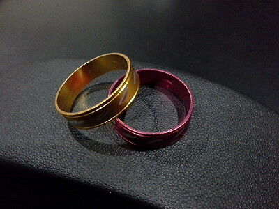 Vintage Retro Style Red & Orange Anodised Friendship Rings Size 7 His & Hers