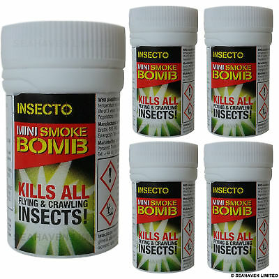 Insecto 5 x Smoke Insect Bomb - Moth Cluster Fly Wasp Mite Killer Control 3.5g