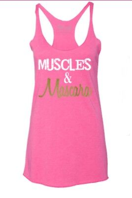 224abe76c43f00 MUSCLES   MASCARA Workout Tank Top Tee CROSSFIT PINK WHITE GOLD MEDIUM MSRP   30
