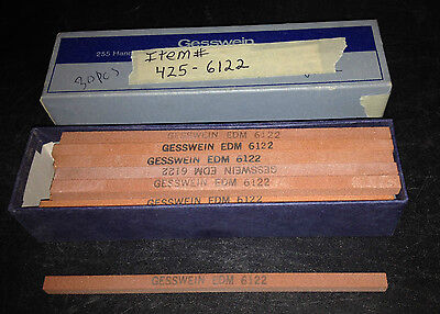 Box of 30pcs. 120grit, Gesswein, EDM 425-6122, Red Finishing Stones, 1/4x1/4x6""