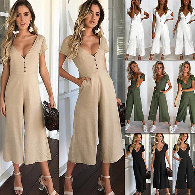 AU Women Jumpsuit Romper Sleeveless Evening Clubwear Ball Bodycon Long Trousers
