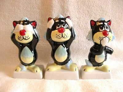 Lorna Bailey Cat Set Of 3 See No Hear No And Speak No Evil Factory Signed New