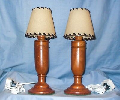 *Vintage - Art Deco, Oak, Matching Bedside / Table Lamps with shades