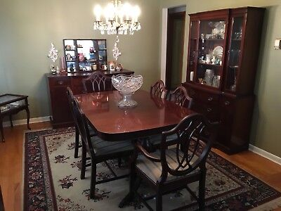 Vintage 1940s Mahogany Dining Room Set 9pc Table Chairs Buffet China Cabinet