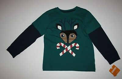 NEW Gymboree Reindeer Candy Cane Tee Top Shirt Size 4T NWT North Pole Party Boys