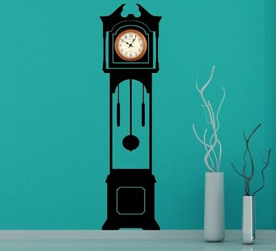 Grandfather Clock Silhouette Wall Decal - Clock Background Large Wall Sticker UK