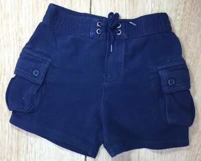 Ralph Lauren Baby Boy Blue Cargo Shorts Size 18m With Draw Strings
