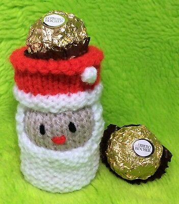 KNITTING PATTERN - Father Christmas Santa Head choc cover fits Ferrero Rocher
