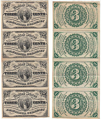 3 Cent 3rd Issue Fractional Currency F-1226 Uncut Strip Of 4 Choice AU