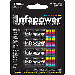 Infapower Rechargeable AA Ni-MH Multi Usage Batteries 1.2v 2700mAh 4 Pack New
