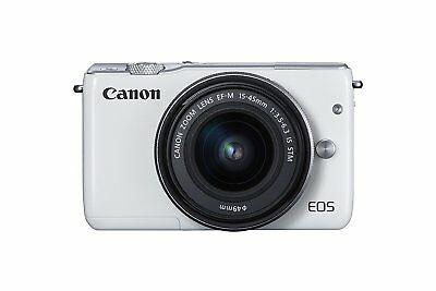 Canon EOS M10 MIRRORLESS CAMERA BODY WITH 15-45MM IS STM LENS KIT WHITE DEMO