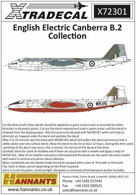 Xtradecal X72301 1/72 BAC/EE Canberra B.2 Model Decals