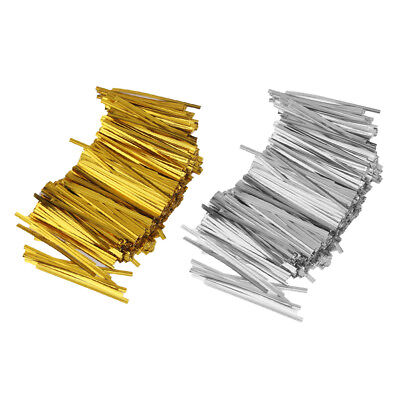 1600X Metallic Twist Tie With Bow Cello Candy Cookie Bag Lollipop Pack Decor