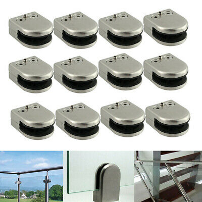UK Pack of 4 Glass Clamps Bracket 304 Stainless Steel Clip Suitable for 6-12mm