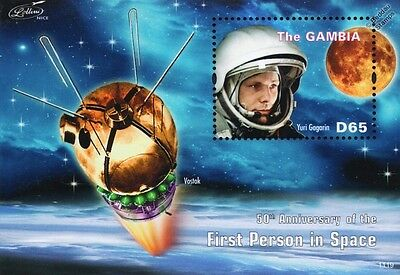 YURI GAGARIN/VOSTOK Spacecraft/The Moon/First Man in Space Stamp Sheet