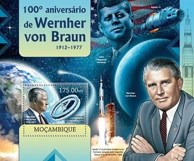 Wernher von Braun Apollo XI Rocket Scientist Space Stamp Sheet/2012 Mozambique