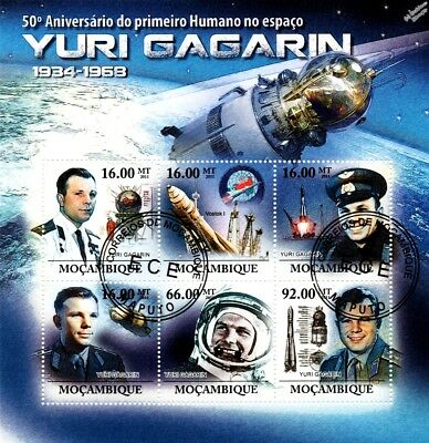 YURI GAGARIN Cosmonaut / First Man in Space CTO Stamp Sheet (2011 Mozambique)