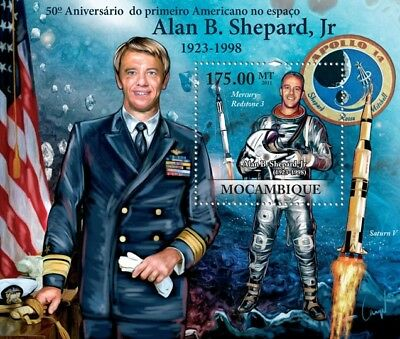 ALAN SHEPARD NASA Astronaut / Apollo 14/JFK Space Stamp Sheet 2/2011 Mozambique