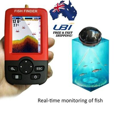 Portable 100m LCD Wireless Fish Finder Monitor Sonar Sensor Depth Sounder Alarm