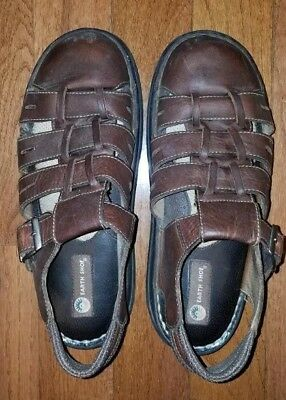 c36e052ffa45 MENS EARTH SHOE SIMON II BROWN LEATHER FISHERMAN SANDALS SIZE 12 pre-owned  NICE!