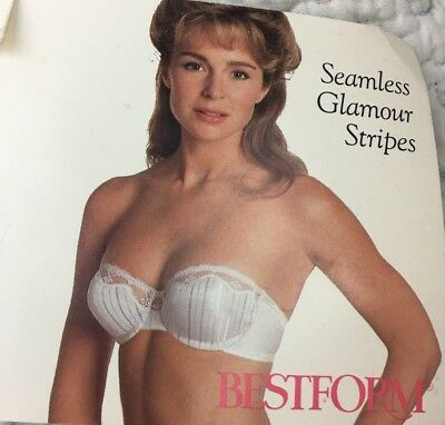 Vintage Bestform 34B Seamless Glamour Stripes White Strapless Bra Tags Attached