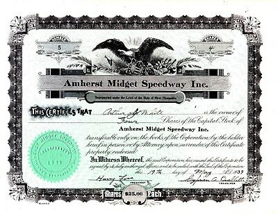 Amherst Midget Speedway Incorporated of NH 1939 Stock Certificate - Rare Issued