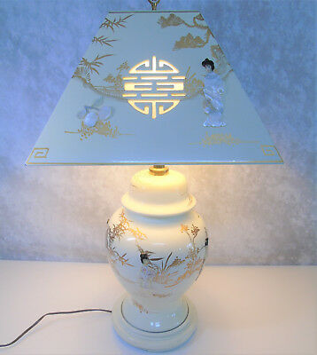 Mother Of Pearl GEISHA TABLE LAMP & LAMPSHADE Japanese Porcelain White Lacquer!