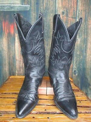 Ladies Justin Black Leather Pointed Toe Cowboy Western Boots sz: 5.5 B