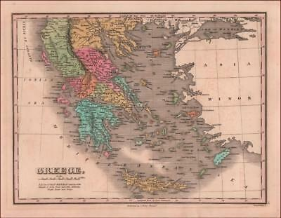 GREECE, Anthony Finley Map, hand colored engraved, original 1831