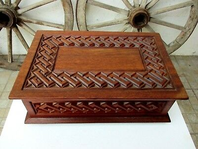 Antique Large Size Beautiful Ornate Carved Mahogany Wood Jewelry Box Wooden