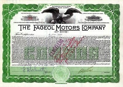 The Fageol Motors Company of Ohio 1925 Stock Certificate - Bus, Tractor mfr