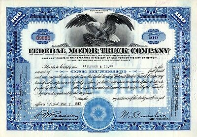 Federal Motor Truck Company of Detroit, Michigan  1938-1942 Stock Certificate #2