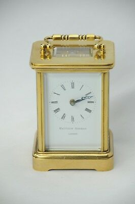 Matthew Norman 1754 8 Day Swiss Made Brass Carriage Clock Inscribed No. 027