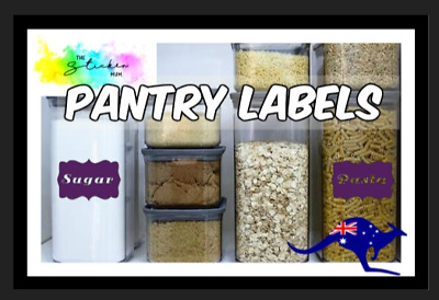 Waterproof Pantry labels organiser STICKERS decals flour containers tupperware
