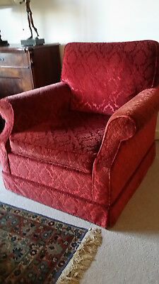 Armchairs, two, 1930's, original, good condition, fabric velvet