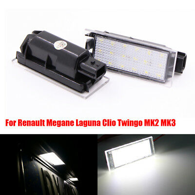 2X LED For Renault Megane Laguna Clio Twingo MK2 MK3 Licence Number Plate Light