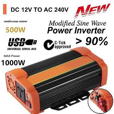 1000W Power Inverter DC12V to AC240V 5V/4.8A USB Port + Car Battery Charger X5