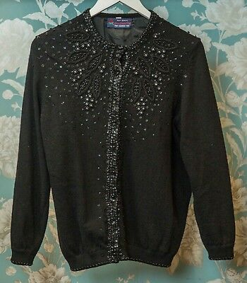 Gorgeous Vintage Pure Cashmere Wool Blend Beaded/Sequin Cardigan - Size 4