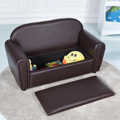 Kids Sofa Armrest Chair Lounge Couch W Storage Function Children Toddler Brown