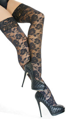 One Size Fits Most Womens Black Floral Lace Thigh High Stocking