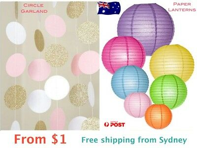 Circle Garland and Paper Lanterns for Wedding Party Baby Living Decor Pompoms