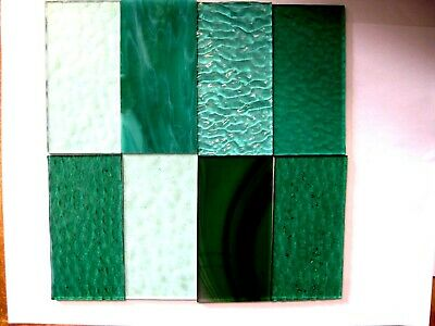 8 Teal & Aqua Stained Glass Hobby Sheets 100mm x 50mm x 3m Quality Craft Items