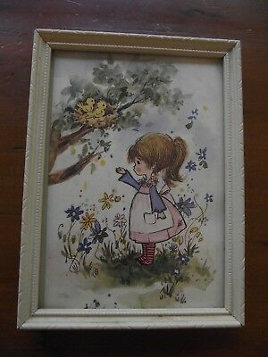 Retro Vintage Framed Picture - Young Girl in the Garden
