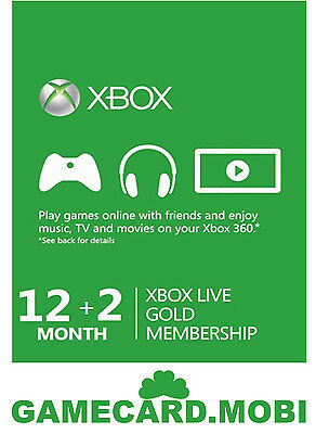 Xbox LIVE 12+2 / 14 Month Gold Membership For Microsoft Xbox One Xbox 360