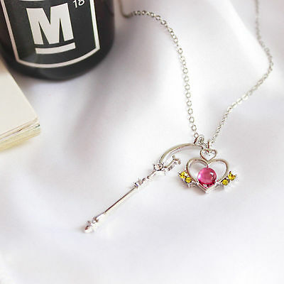 Neu Anime Sailor Moon Sickle Wand Crystal Pendant Halskette Cosplay Jewelry