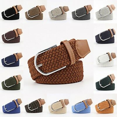 Men's Leather Covered Buckle Woven Elastic Stretch Belt